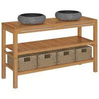 vidaXL Mueble tocador madera maciza teca con lavabos de mármol negro