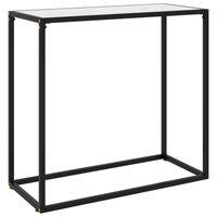 vidaXL Mesa consola vidrio templado blanco 80x35x75 cm