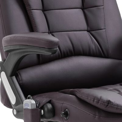 vidaXL Silla de oficina de masaje de cuero sintético marrón