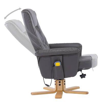 vidaXL Sillón de masaje reclinable y reposapiés cuero sintético gris
