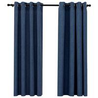 vidaXL Cortinas opacas con ojales look de lino 2 pzas azul 140x175 cm