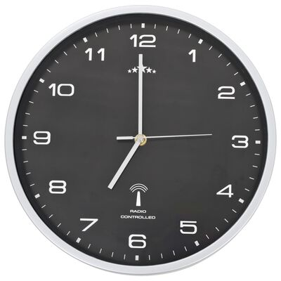 vidaXL Reloj de pared radiocontrol movimiento de cuarzo 31 cm negro