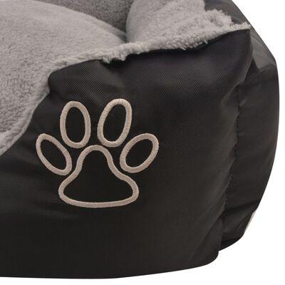 vidaXL Cama para perro con cojín acolchado talla S negra