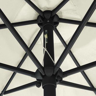 vidaXL Sombrilla con luces LED y palo de aluminio blanco arena 270 cm