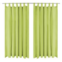 vidaXL Cortinas de micro-raso con bucles 2 unidades 140x225 cm verde