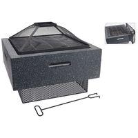 ProGarden Brasero con parrilla cuadrado gris oscuro 52,5x52,5x18,5 cm