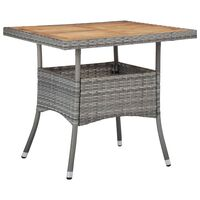 vidaXL Mesa comedor para jardín ratán sintético madera de acacia gris
