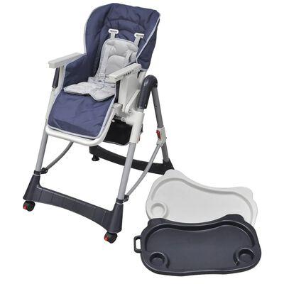 vidaXL Trona de bebé Deluxe de altura ajustable azul oscuro
