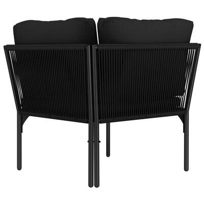 vidaXL Juego de muebles de jardín 3 piezas con cojines PVC negro