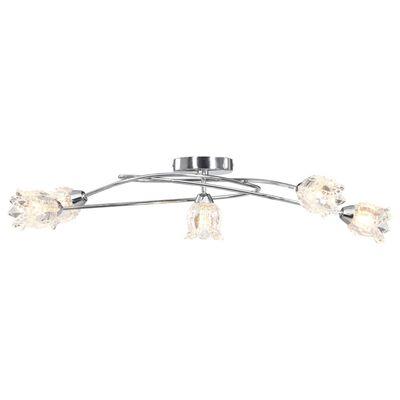 vidaXL Lámpara de techo pantallas de cristal flores 5 bombillas G9