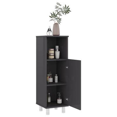 vidaXL Conjunto de muebles de baño 3 piezas aglomerado gris brillante
