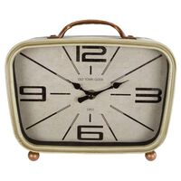Gifts Amsterdam Reloj de mesa Retro metal latón y crema 22x8x19 cm