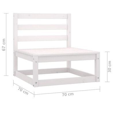 vidaXL Muebles de jardín 7 pzas y cojines blanco madera maciza pino
