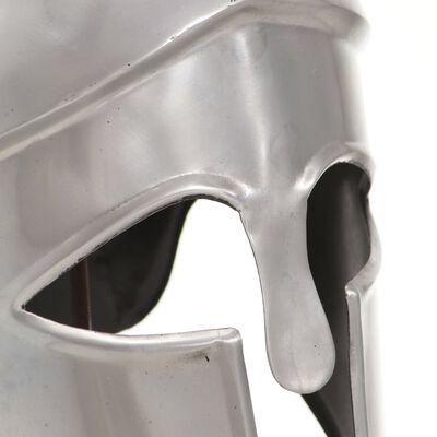 vidaXL Réplica de casco de guerrero griego rol en vivo acero plateado