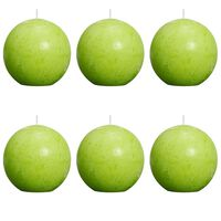 Bolsius Velas rústicas de bola verde lima 6 unidades 80 mm