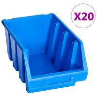 vidaXL Cajas de almacenaje apilables 20 unidades plástico azul