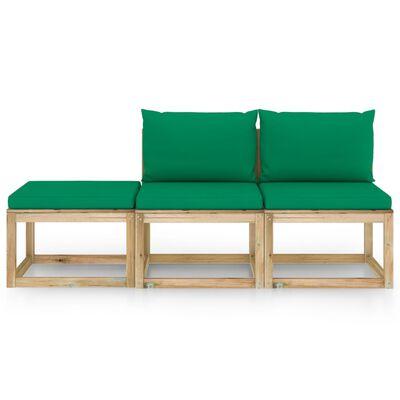 vidaXL Juego de muebles jardín de 3 piezas con cojines verde