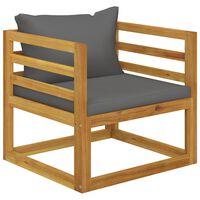 vidaXL Silla de jardín con cojines gris oscuro madera maciza acacia