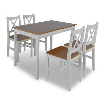 vidaXL Juego de muebles de comedor 5 piezas marrón y blanco