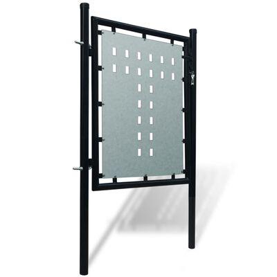 Verja negra con una puerta de entrada, 100 x 150 cm