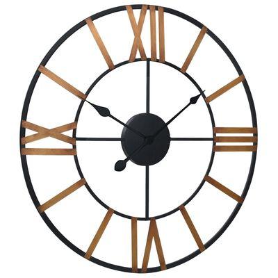 vidaXL Reloj de pared de metal dorado y negro 70 cm