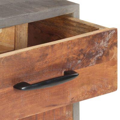 vidaXL Mesita de noche madera maciza de mango y rugosa gris 40x30x50cm