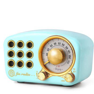 Altavoz Bluetooth / radio FM en diseño retro, con cable Aux, Azul