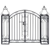 vidaXL Puerta de jardín decorativa de hierro forjado 122x20,5x100 cm