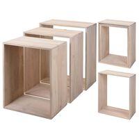 Home&Styling Juego de mesitas 3 piezas madera de mango blanqueada