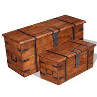 vidaXL Set de baúl de almacenamiento 2 unidades madera maciza