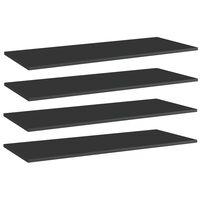 vidaXL Estantes estantería 4 uds aglomerado negro brillo 100x40x1,5 cm
