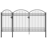 vidaXL Puerta de valla de jardín con arco superior acero negro 2,5x4 m