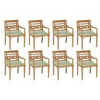 vidaXL Sillas Batavia 8 unidades madera maciza de teca con cojines