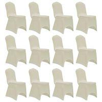 vidaXL Funda de silla elástica 12 unidades crema