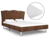 vidaXL Cama con colchón tela marrón 120x200 cm