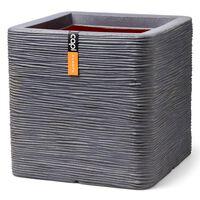 Capi Macetero Nature Rib cuadrado gris oscuro 50x50x50 cm