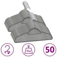 vidaXL Juego de perchas de ropa 50 uds antideslizantes terciopelo gris