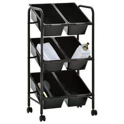 vidaXL Carrito de almacenaje de juguetes 6 cestas plástico negro