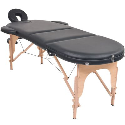vidaXL Mesa plegable de masaje 4 cm grosor 2 cojines ovalados negro