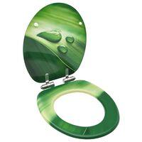 vidaXL Asiento WC tapa de cierre suave MDF verde diseño gotas de agua