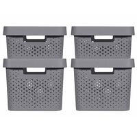 Curver Cajas de almacenaje con tapa Infinity 4 piezas gris 11L+17L