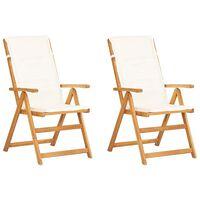 vidaXL Sillas de jardín reclinables 2 uds madera acacia maciza marrón