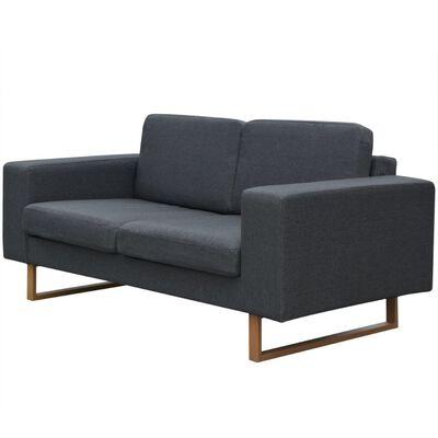 vidaXL Conjunto de sofás de 2 y 3 plazas gris oscuro