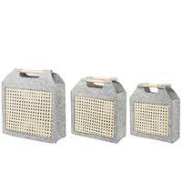Conjunto de 3 cestas de fieltro gris claro SARIOT