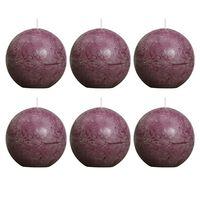 Bolsius Velas rústicas de bola morado 6 unidades 80 mm