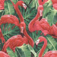 Noordwand Papel pintado Flamingo and Monstera rojo