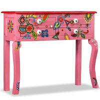 vidaXL Mesa consola de madera maciza de mango rosa pintada a mano