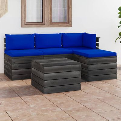 vidaXL Muebles de jardín de palets 5 piezas cojines madera maciza pino