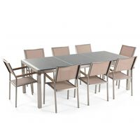 Conjunto de jardín mesa con tablero de piedra natural gris pulido 220