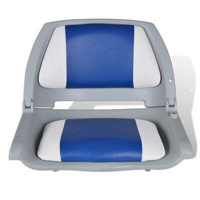 vidaXL 2x Asiento barco respaldo plegable cojín azul blanco 41x51x48cm